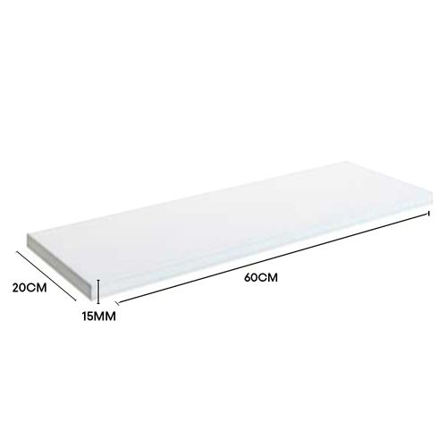 Prateleira Lab Em Mdf Branco Para Quarto E Cozinha 60cmx20cmx1,5cm